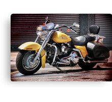 Yellow Harley at the kerb. Canvas Print