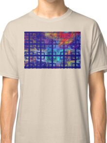 Abstract Blue Psychedelic Tiled Fractal Flame Classic T-Shirt