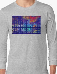 Abstract Blue Psychedelic Tiled Fractal Flame Long Sleeve T-Shirt