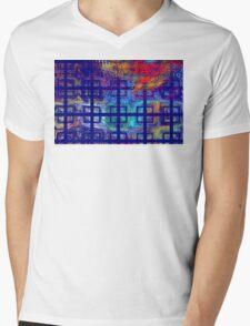 Abstract Blue Psychedelic Tiled Fractal Flame Mens V-Neck T-Shirt
