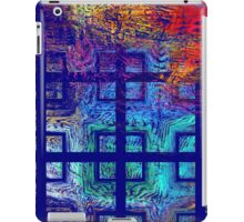 Abstract Blue Psychedelic Tiled Fractal Flame iPad Case/Skin