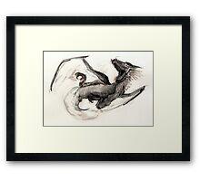 Black Watercolor Dragon Framed Print