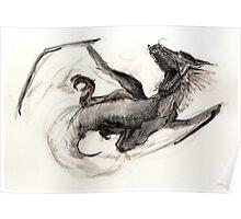 Black Watercolor Dragon Poster
