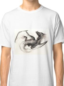 Black Watercolor Dragon Classic T-Shirt