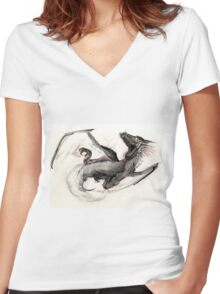 Black Watercolor Dragon Women's Fitted V-Neck T-Shirt