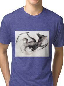 Black Watercolor Dragon Tri-blend T-Shirt