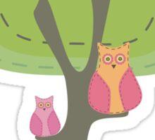 Mumma & Baby Owl Sittin in a Tree. Sticker