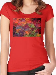 Colorful Psychedelic Abstract Fractal Art Women's Fitted Scoop T-Shirt
