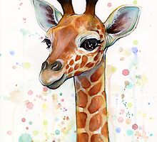 Baby Giraffe Watercolor Painting by OlechkaDesign