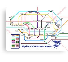 Epic Mythical Creatures Underground Map Metal Print