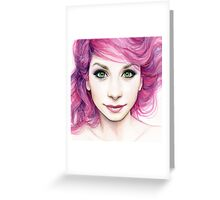 Beautiful Girl with Magenta Hair Greeting Card