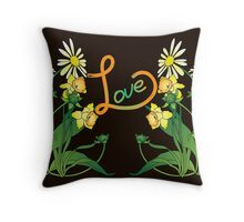 Daisies and daffodils Throw Pillow