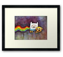 Nyan Time | Adventure Time Jake and Finn | Nyan Cat Framed Print