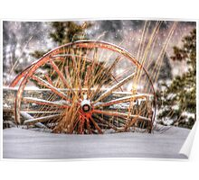 Wagon in Snow Poster