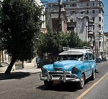 Blue Car in Havana by Erika  Szostak