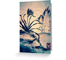 Sumi-e Orchid at Sunset Greeting Card