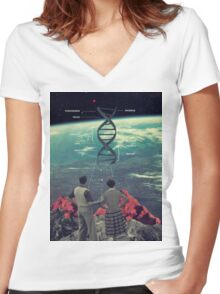 Distance And Eternity Women's Fitted V-Neck T-Shirt