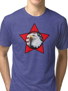 Bald Eagle & Red Star T-Shirt Tri-blend T-Shirt