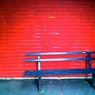 Bench with red background by Richard Pitman
