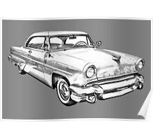 1955 Lincoln Capri Luxury Car Illustration Poster