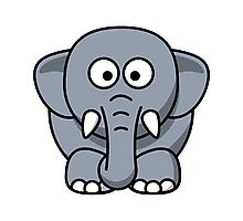 Cartoon Elephant Photographic Print