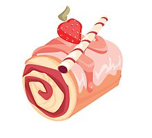 Strawberry Dessert Roll Photographic Print