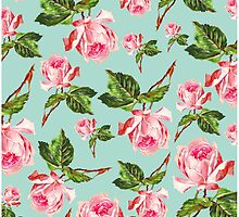 Pink and blue Floral Pattern by allysonjohnson