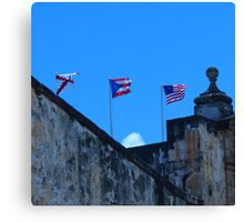 Puerto Rican and American Flag Canvas Print