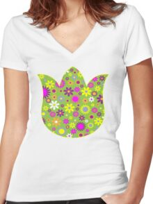 Flower Whimsy Women's Fitted V-Neck T-Shirt
