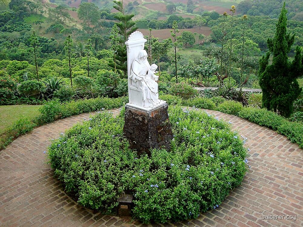 Caleruega Church white statue (center view) in Batangas, Philippines by walterericsy