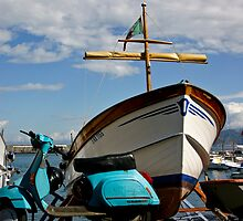 Vespa To Boat To Sea by phil decocco