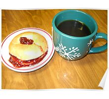 Coffee-N- Bagel With Strawberry Preserve Poster
