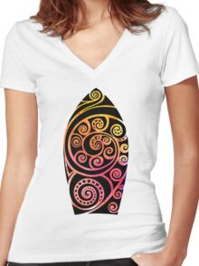 Watercolor Surf board. Women's Fitted V-Neck T-Shirt