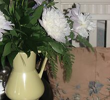 Bouquet of Peonies - very old pitcher by JeffeeArt4u