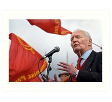 Tony Benn keeps the red flag flying Art Print