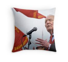 Tony Benn keeps the red flag flying Throw Pillow