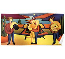 Structured lovers with musicians by lake Poster