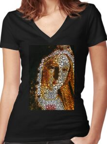 Mary - Holy Mother By Sharon Cummings Women's Fitted V-Neck T-Shirt
