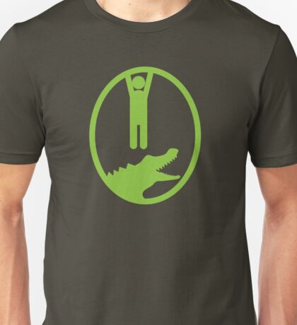 Man hanging getting away from and Alligator or Crocodile Unisex T-Shirt