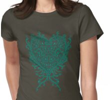 Peacock Heart Tee Dark Womens Fitted T-Shirt