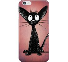 Funny Black Cat on Pink iPhone Case/Skin