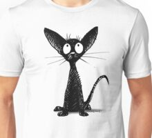 Funny Black Cat on Pink Unisex T-Shirt