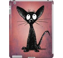 Funny Black Cat on Pink iPad Case/Skin