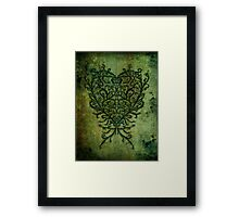 Feathered Peacock Heart - Print Framed Print