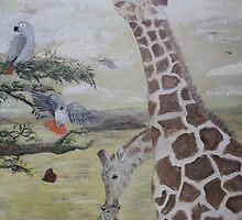 Giraffe and bird family by wtspears