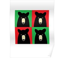 BLACK BEAR ON RED & GREEN Poster