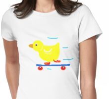 DUCKY on SKATEBOARD   T SHIRT Womens Fitted T-Shirt