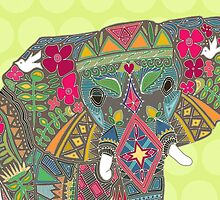 painted elephant chartreuse by Sharon Turner
