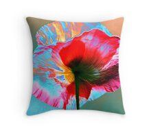 Photo Manipulated Iridescent Poppy Throw Pillow