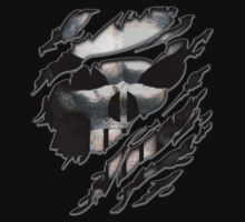 Silver Skull torn tee tshirt by Galih Sanjaya Kusuma wiwaha